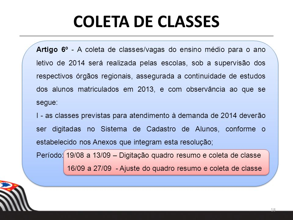 COLETA DE CLASSES