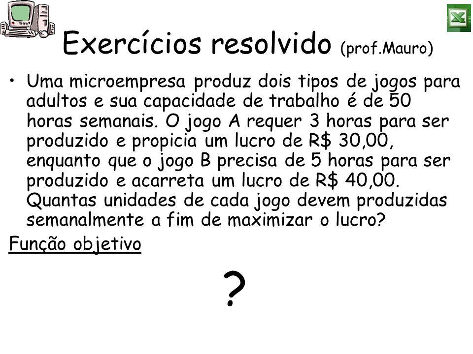 Exercícios resolvido (prof.Mauro)