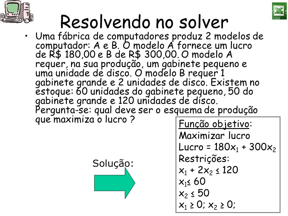 Resolvendo no solver