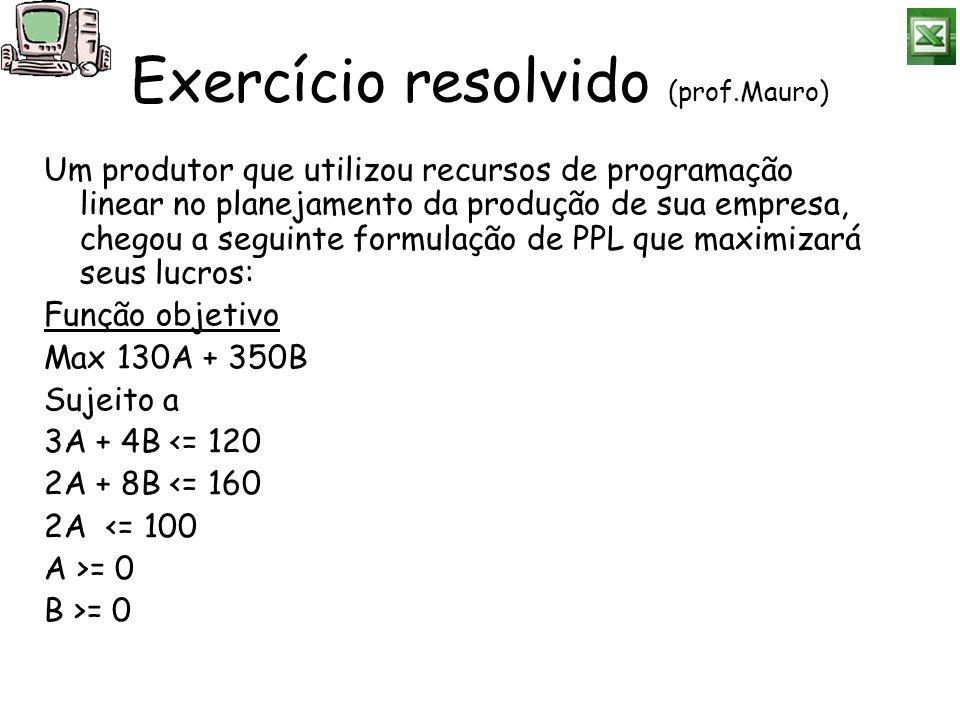 Exercício resolvido (prof.Mauro)