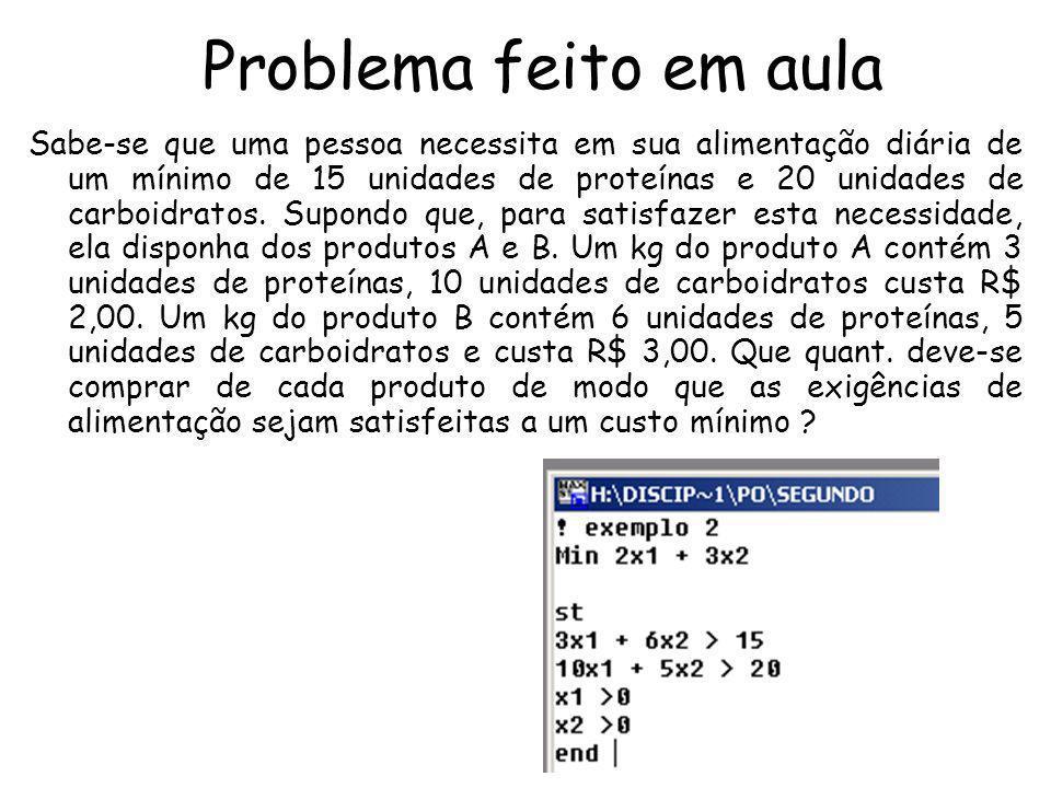 Problema feito em aula