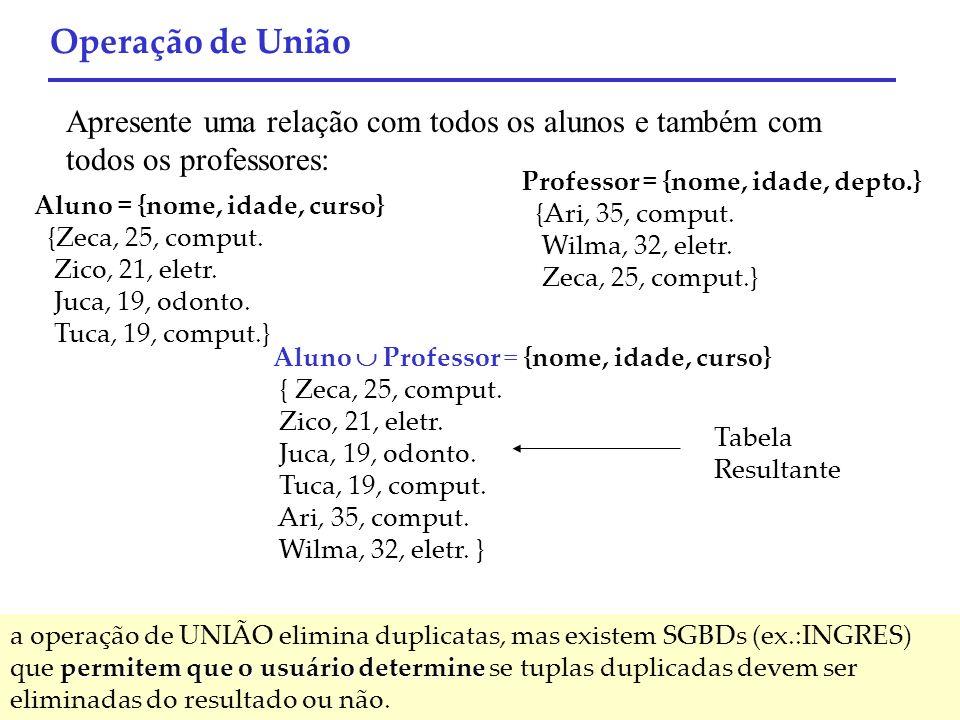 Operação de União Apresente uma relação com todos os alunos e também com todos os professores: Professor = {nome, idade, depto.}