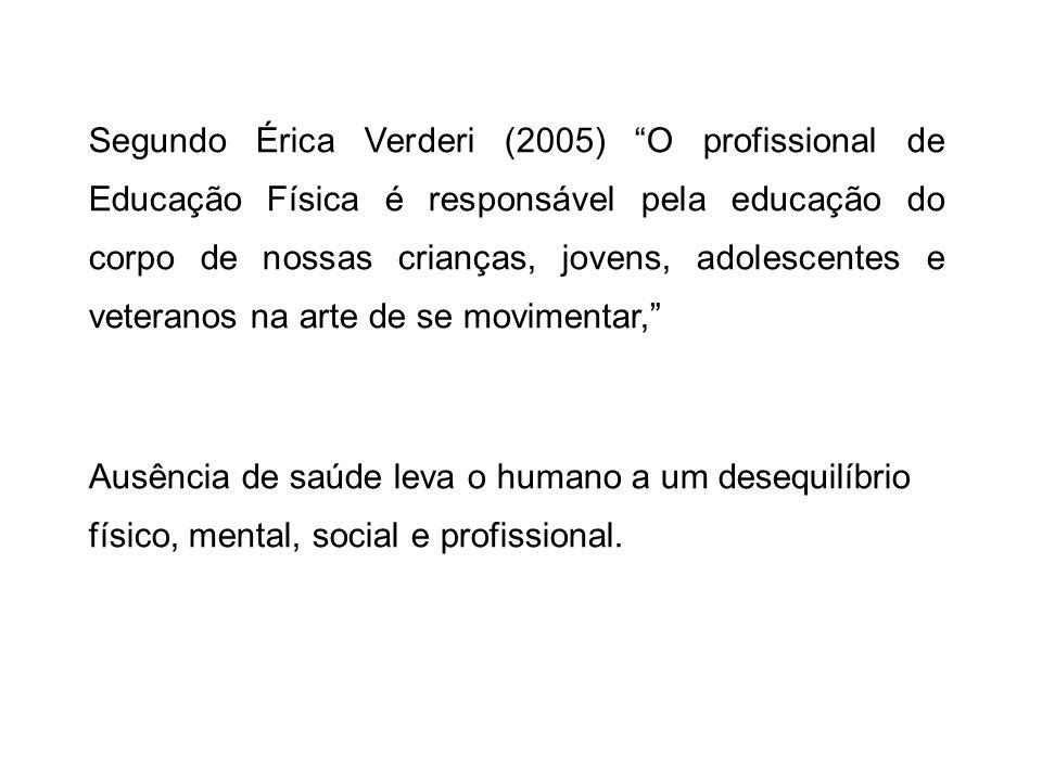 Segundo Érica Verderi (2005) O profissional de Educação Física é responsável pela educação do corpo de nossas crianças, jovens, adolescentes e veteranos na arte de se movimentar,