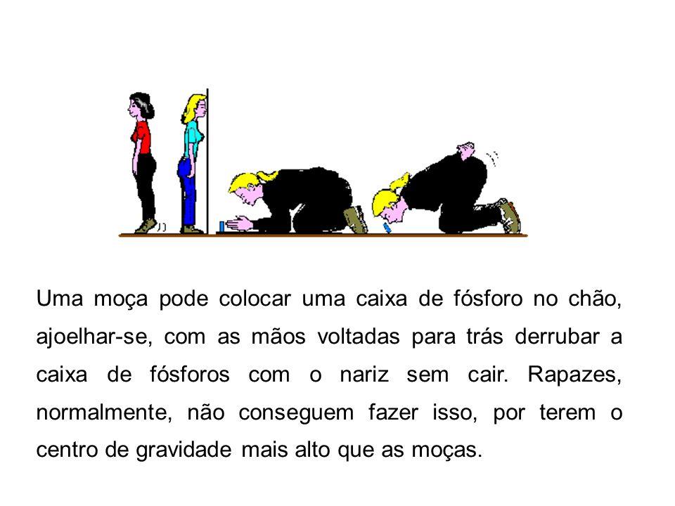 Uma moça pode colocar uma caixa de fósforo no chão, ajoelhar-se, com as mãos voltadas para trás derrubar a caixa de fósforos com o nariz sem cair.