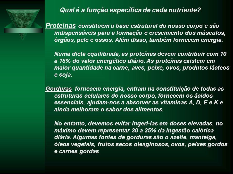 Qual é a função específica de cada nutriente