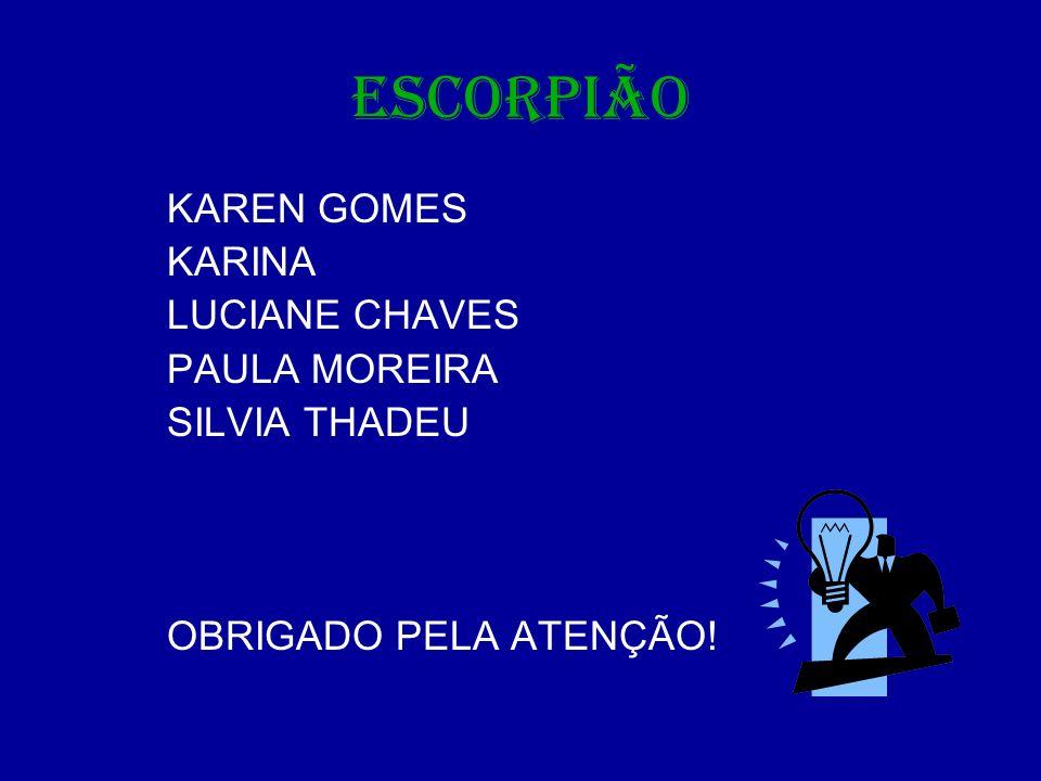 ESCORPIÃO KAREN GOMES KARINA LUCIANE CHAVES PAULA MOREIRA