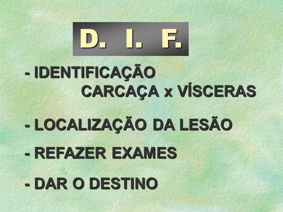 D. I. F. - IDENTIFICAÇÃO CARCAÇA x VÍSCERAS - LOCALIZAÇÃO DA LESÃO