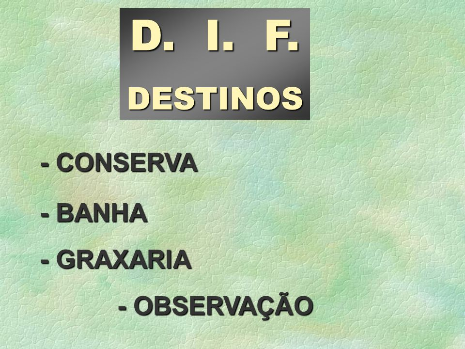 D. I. F. DESTINOS - CONSERVA - BANHA - GRAXARIA - OBSERVAÇÃO