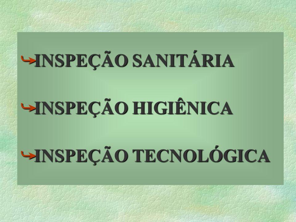 INSPEÇÃO SANITÁRIA INSPEÇÃO HIGIÊNICA INSPEÇÃO TECNOLÓGICA