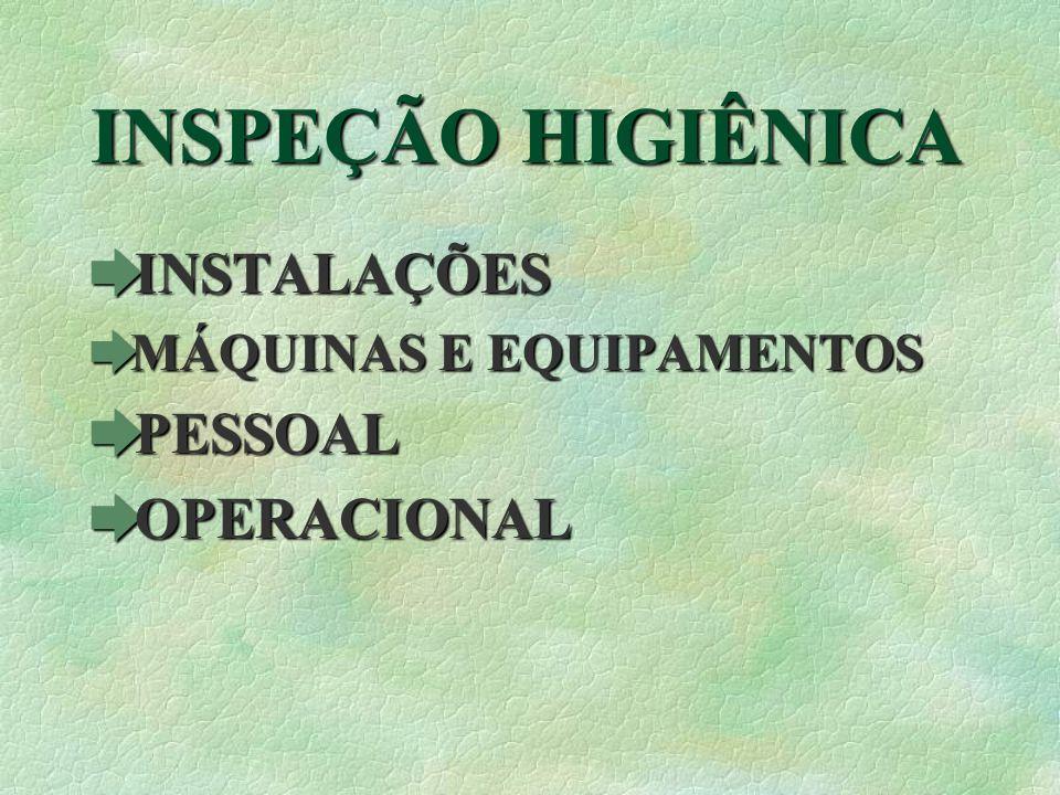 INSPEÇÃO HIGIÊNICA INSTALAÇÕES PESSOAL OPERACIONAL