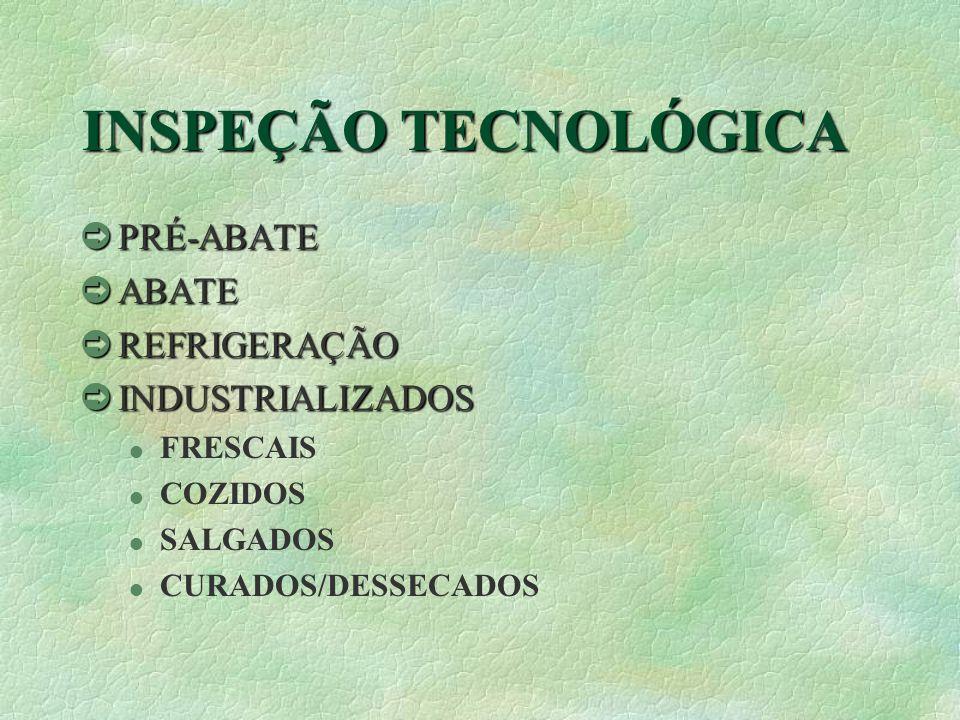 INSPEÇÃO TECNOLÓGICA PRÉ-ABATE ABATE REFRIGERAÇÃO INDUSTRIALIZADOS