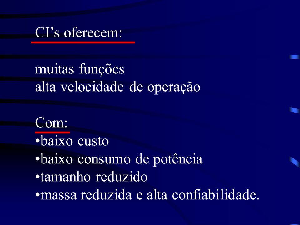 CI's oferecem: muitas funções. alta velocidade de operação. Com: baixo custo. baixo consumo de potência.