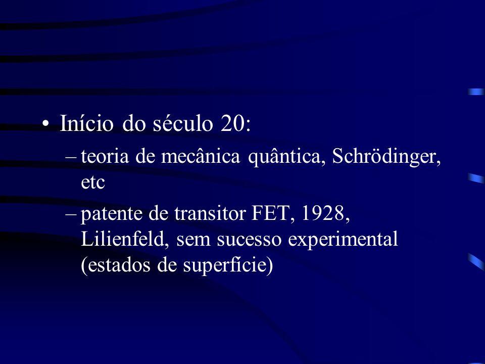 Início do século 20: teoria de mecânica quântica, Schrödinger, etc