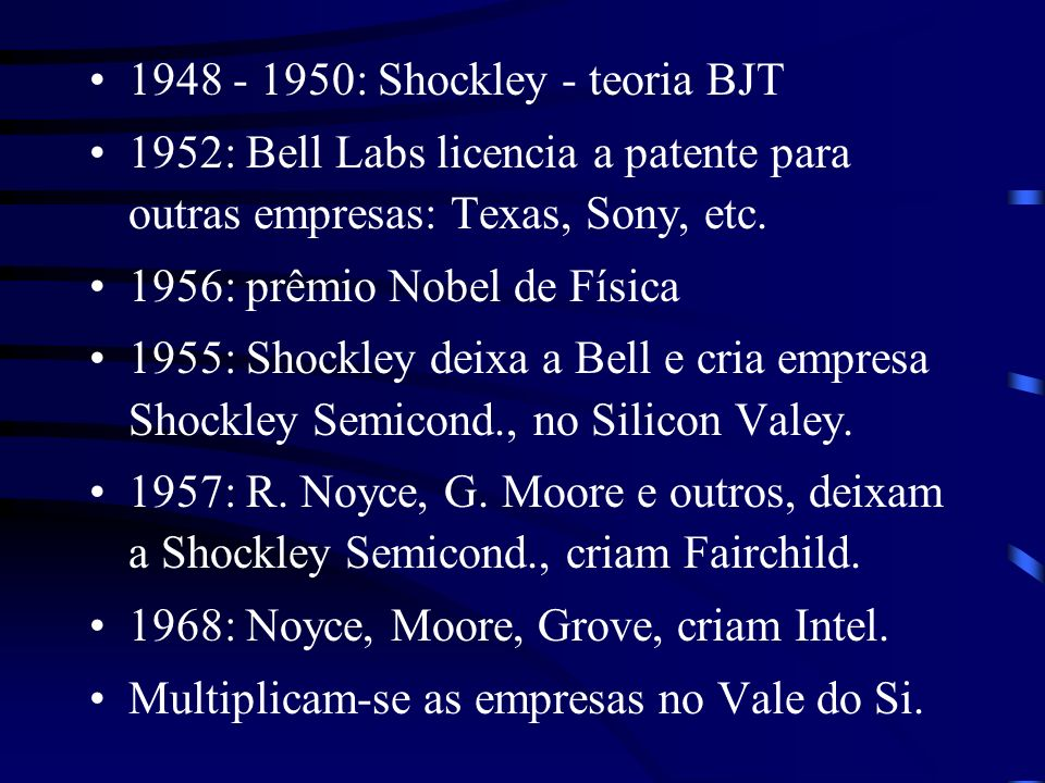1948 - 1950: Shockley - teoria BJT