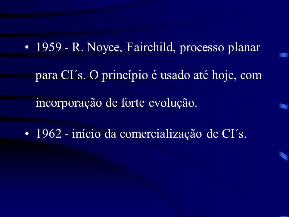 1959 - R. Noyce, Fairchild, processo planar para CI´s