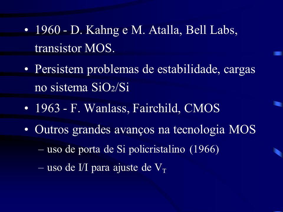 1960 - D. Kahng e M. Atalla, Bell Labs, transistor MOS.