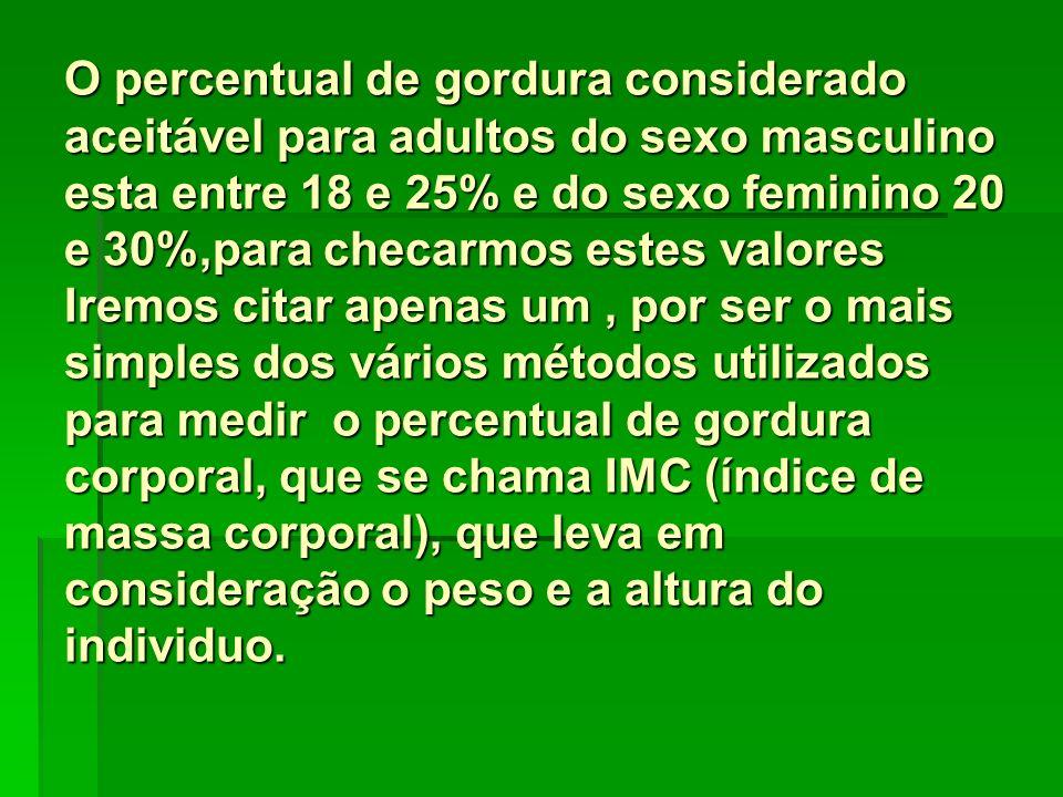 O percentual de gordura considerado aceitável para adultos do sexo masculino esta entre 18 e 25% e do sexo feminino 20 e 30%,para checarmos estes valores Iremos citar apenas um , por ser o mais simples dos vários métodos utilizados para medir o percentual de gordura corporal, que se chama IMC (índice de massa corporal), que leva em consideração o peso e a altura do individuo.