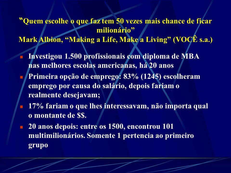 Quem escolhe o que faz tem 50 vezes mais chance de ficar milionário Mark Albion, Making a Life, Make a Living (VOCÊ s.a.)
