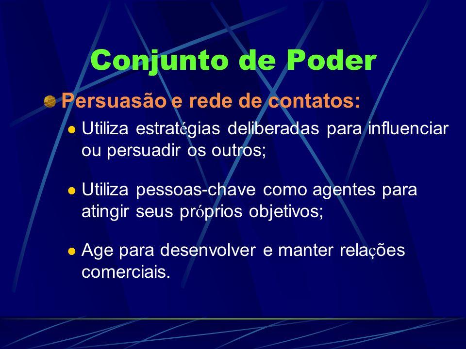 Conjunto de Poder Persuasão e rede de contatos: