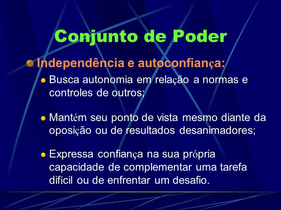 Conjunto de Poder Independência e autoconfiança:
