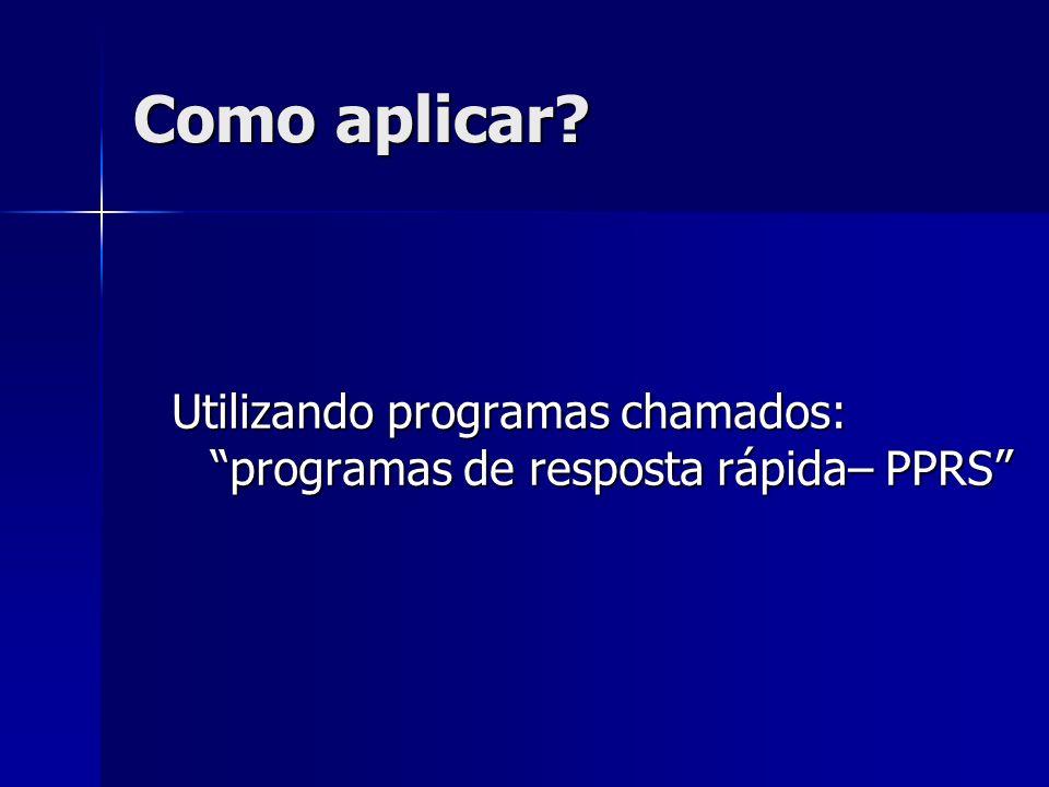 Como aplicar Utilizando programas chamados: programas de resposta rápida– PPRS