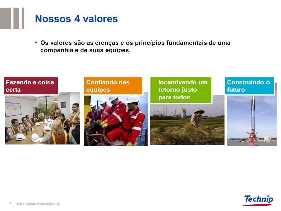 Nossos 4 valores Os valores são as crenças e os princípios fundamentais de uma companhia e de suas equipes.