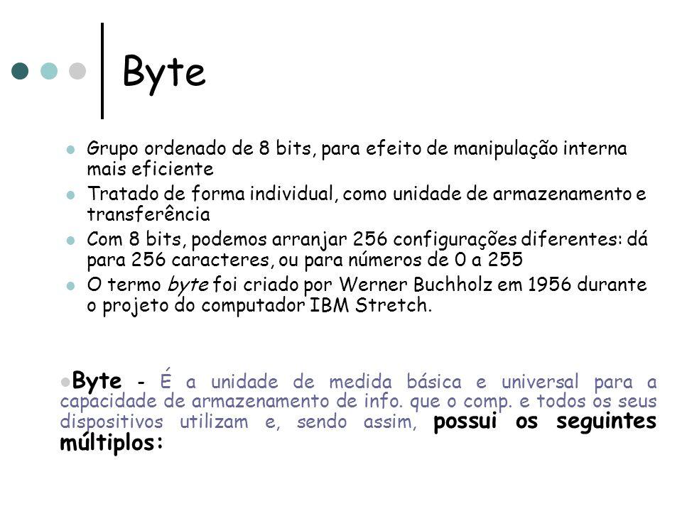 Byte Grupo ordenado de 8 bits, para efeito de manipulação interna mais eficiente.