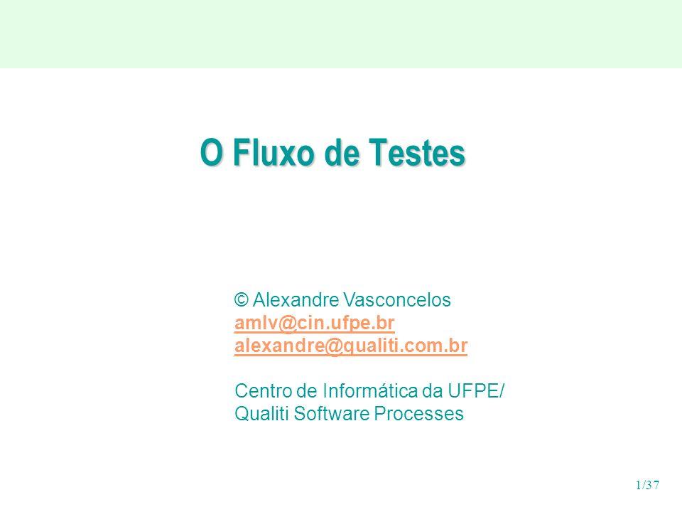 O Fluxo de Testes © Alexandre Vasconcelos amlv@cin.ufpe.br