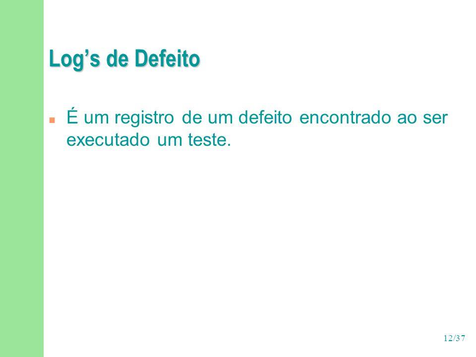 Log's de Defeito É um registro de um defeito encontrado ao ser executado um teste.
