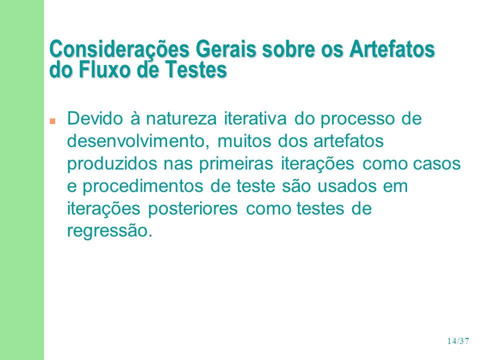 Considerações Gerais sobre os Artefatos do Fluxo de Testes