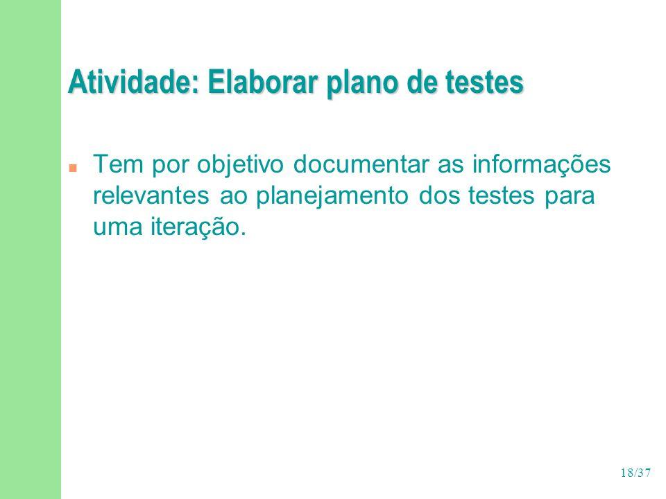 Atividade: Elaborar plano de testes