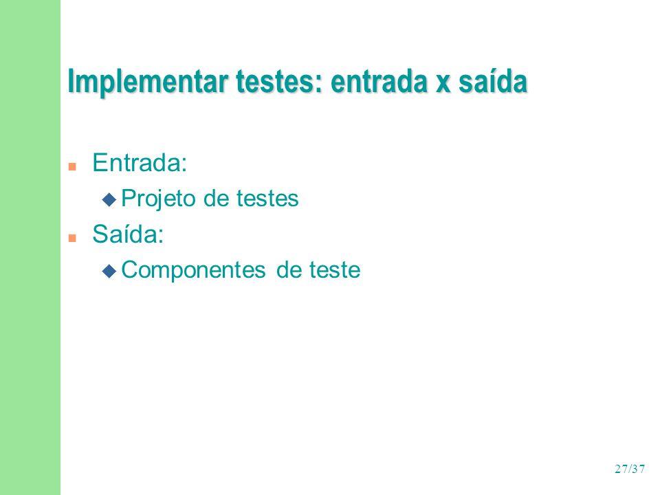 Implementar testes: entrada x saída