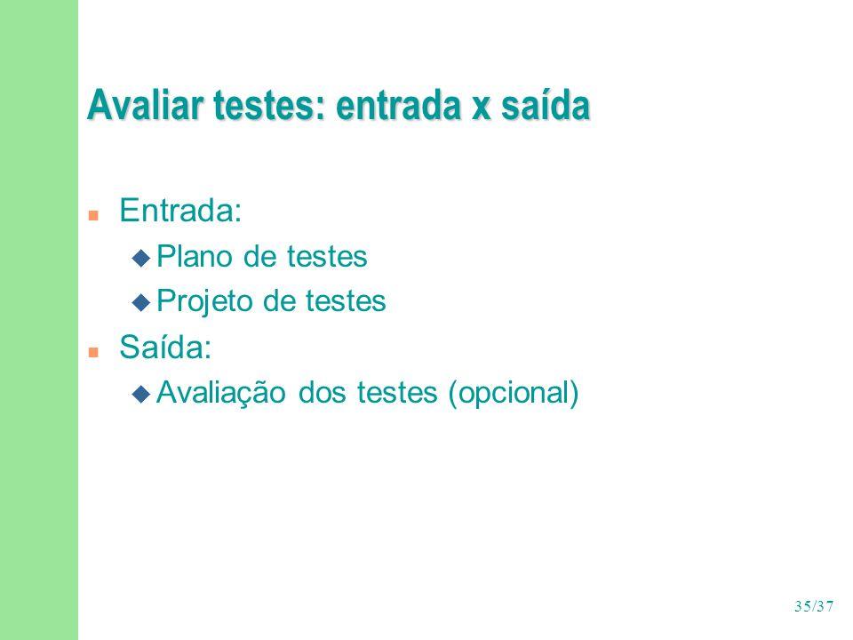 Avaliar testes: entrada x saída