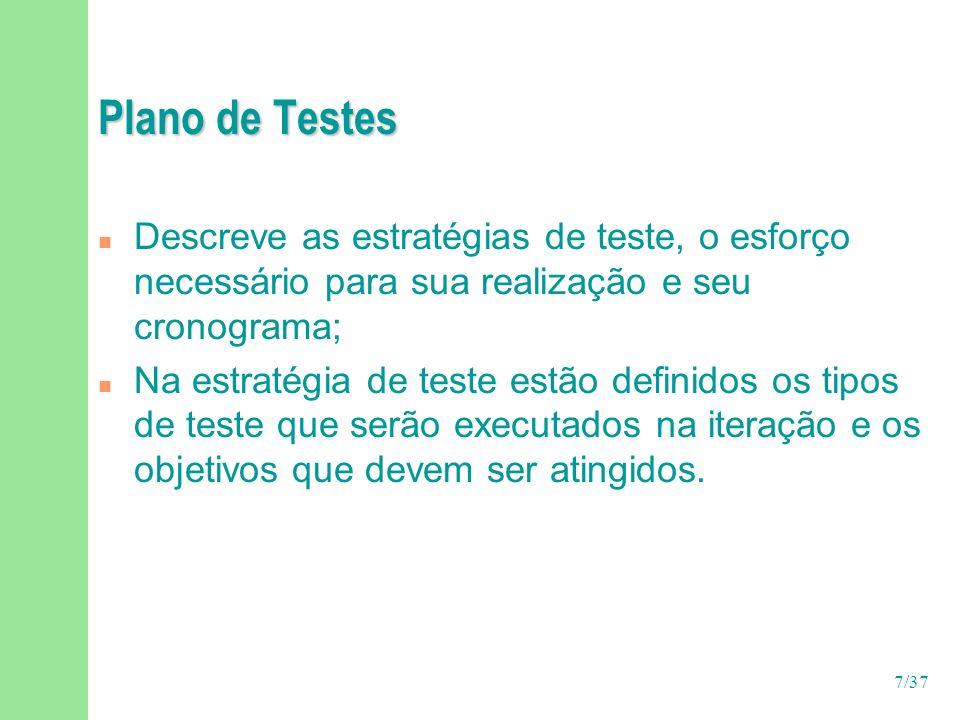 Plano de Testes Descreve as estratégias de teste, o esforço necessário para sua realização e seu cronograma;