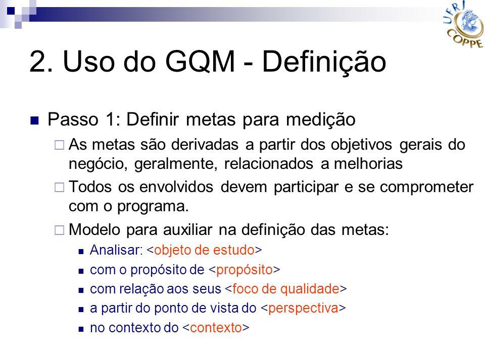 2. Uso do GQM - Definição Passo 1: Definir metas para medição