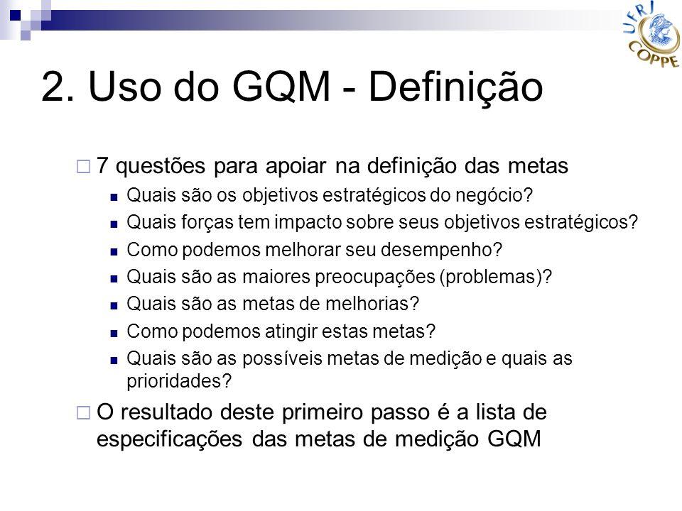 2. Uso do GQM - Definição 7 questões para apoiar na definição das metas. Quais são os objetivos estratégicos do negócio