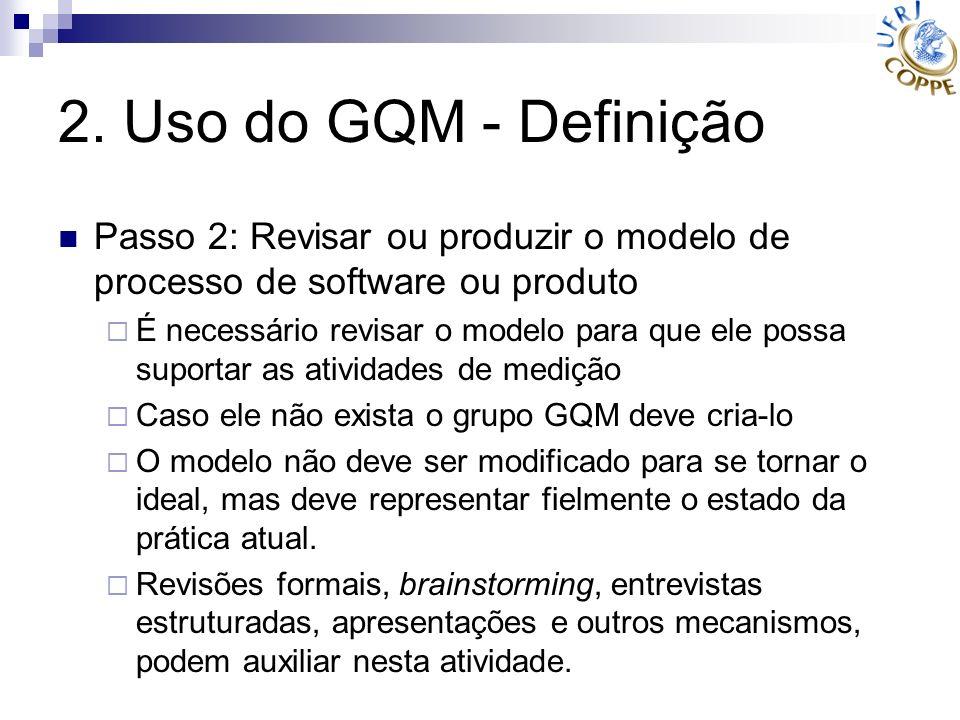 2. Uso do GQM - Definição Passo 2: Revisar ou produzir o modelo de processo de software ou produto.