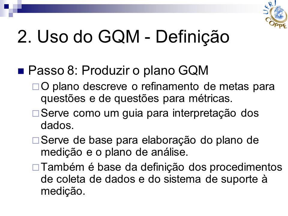 2. Uso do GQM - Definição Passo 8: Produzir o plano GQM