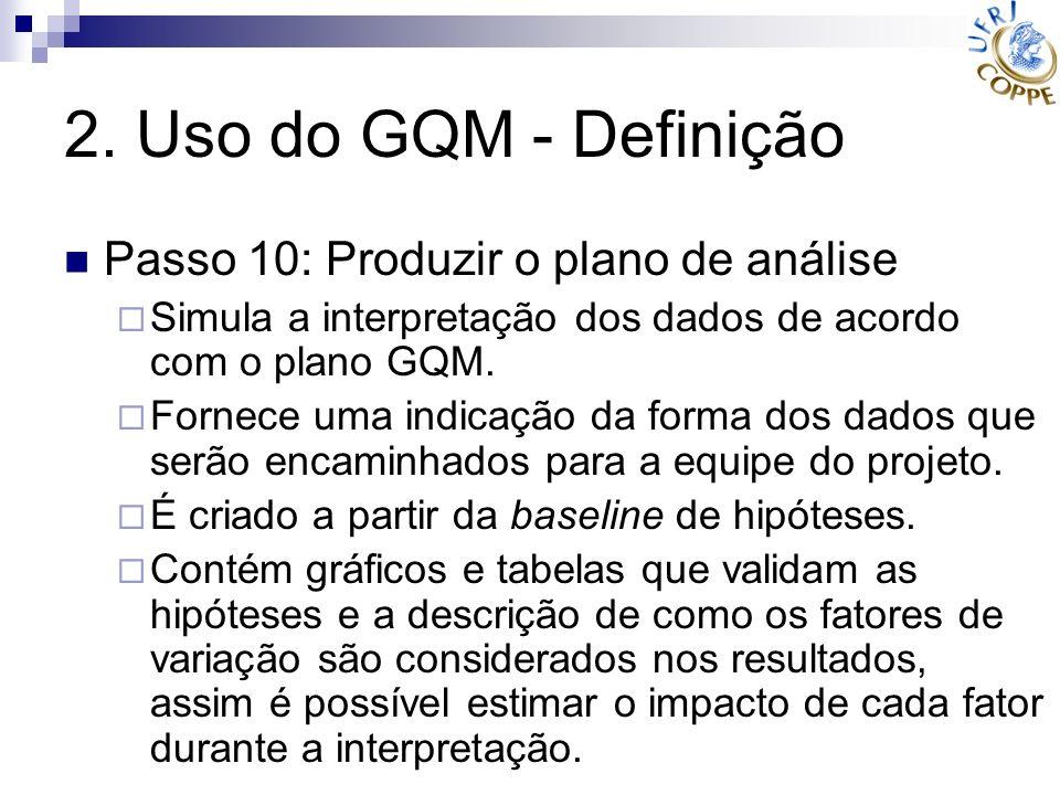 2. Uso do GQM - Definição Passo 10: Produzir o plano de análise