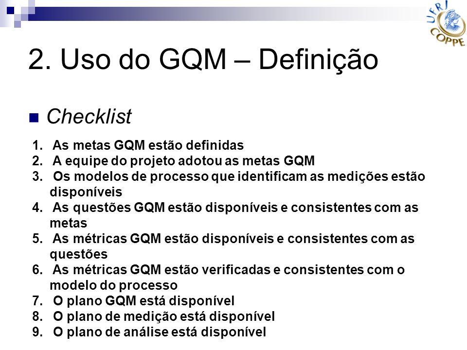 2. Uso do GQM – Definição Checklist As metas GQM estão definidas