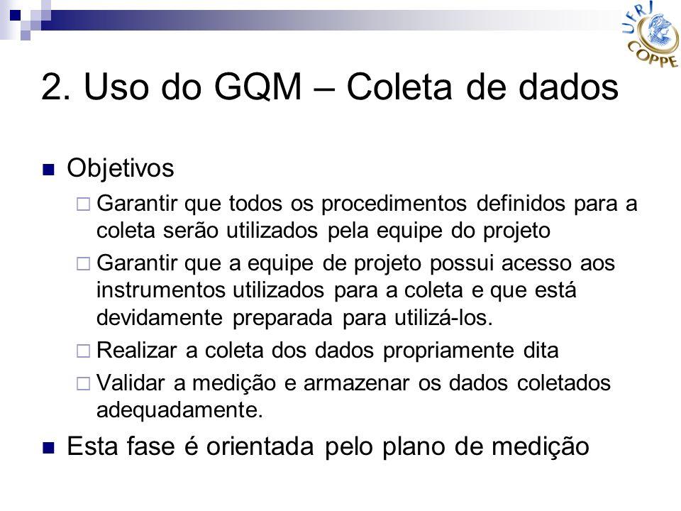 2. Uso do GQM – Coleta de dados