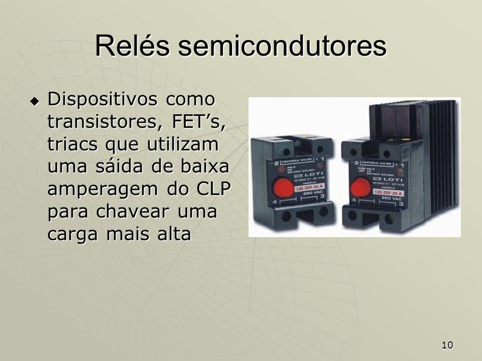 Relés semicondutores Dispositivos como transistores, FET's, triacs que utilizam uma sáida de baixa amperagem do CLP para chavear uma carga mais alta.