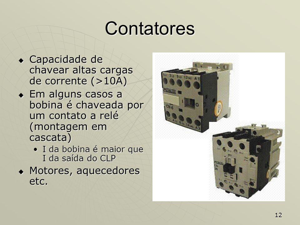 Contatores Capacidade de chavear altas cargas de corrente (>10A)