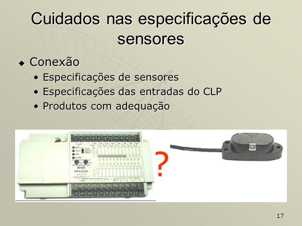 Cuidados nas especificações de sensores