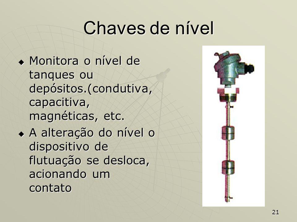 Chaves de nível Monitora o nível de tanques ou depósitos.(condutiva, capacitiva, magnéticas, etc.