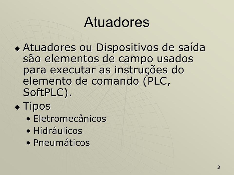 Atuadores Atuadores ou Dispositivos de saída são elementos de campo usados para executar as instruções do elemento de comando (PLC, SoftPLC).