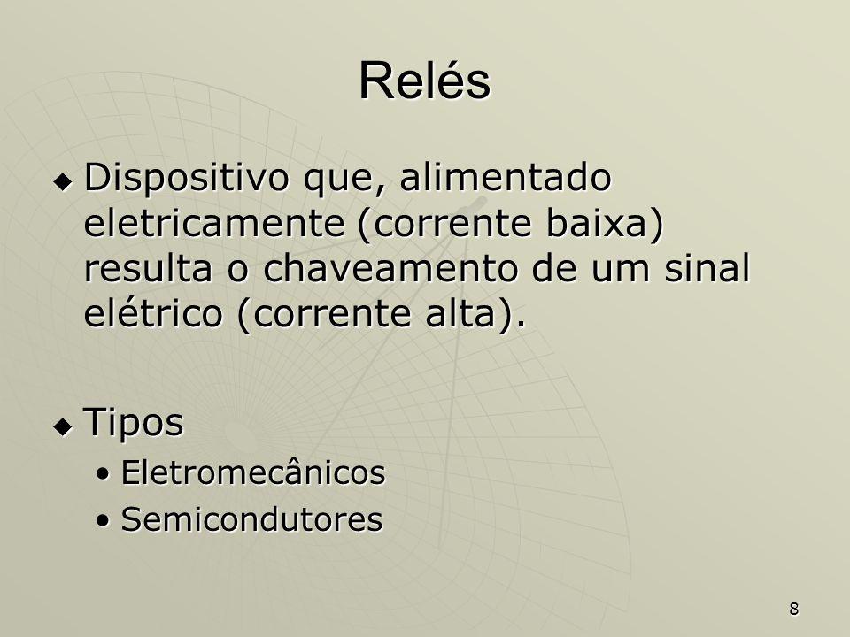 Relés Dispositivo que, alimentado eletricamente (corrente baixa) resulta o chaveamento de um sinal elétrico (corrente alta).