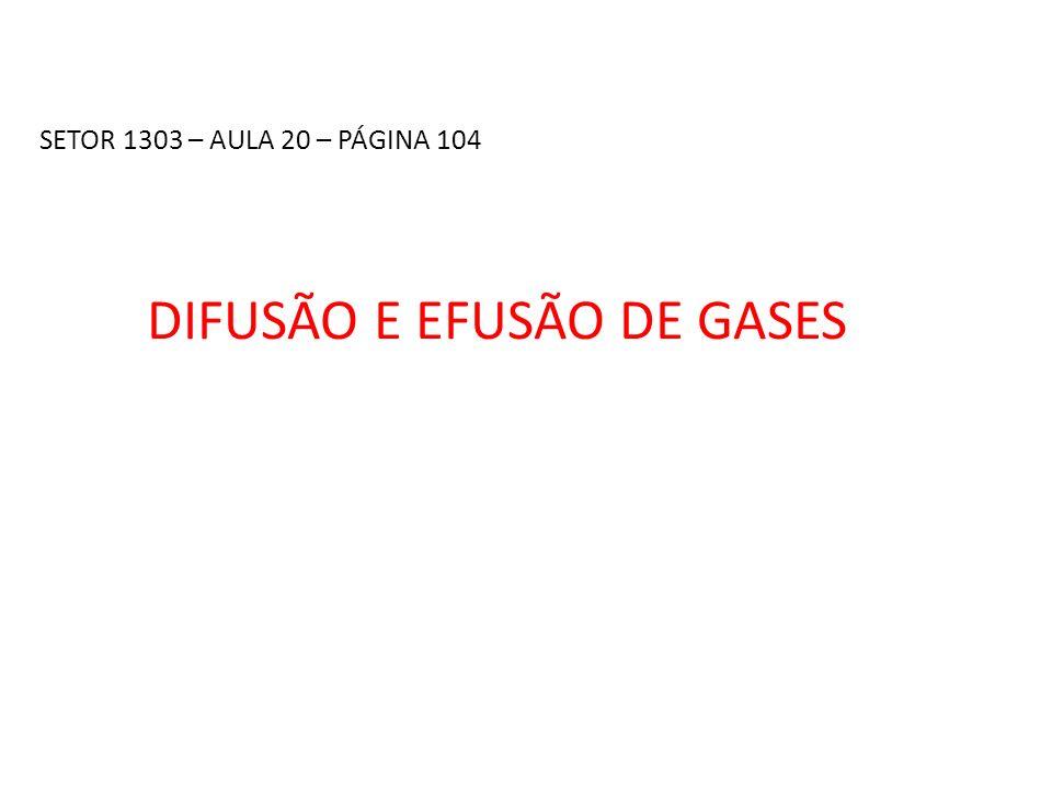 DIFUSÃO E EFUSÃO DE GASES