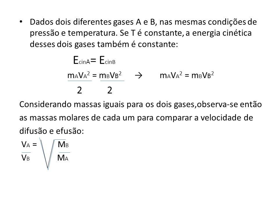 Dados dois diferentes gases A e B, nas mesmas condições de pressão e temperatura. Se T é constante, a energia cinética desses dois gases também é constante: