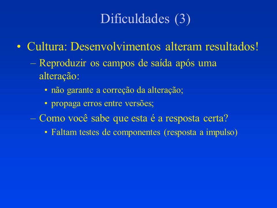 Dificuldades (3) Cultura: Desenvolvimentos alteram resultados!